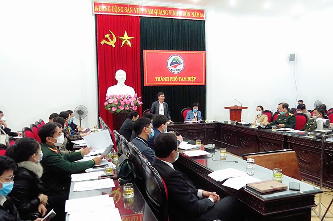 UBND thành phố Tam Điệp tổ chức Hội nghị ban Chỉ đạo phòng, chống dịch bệnh Covid-19 mở rộng.