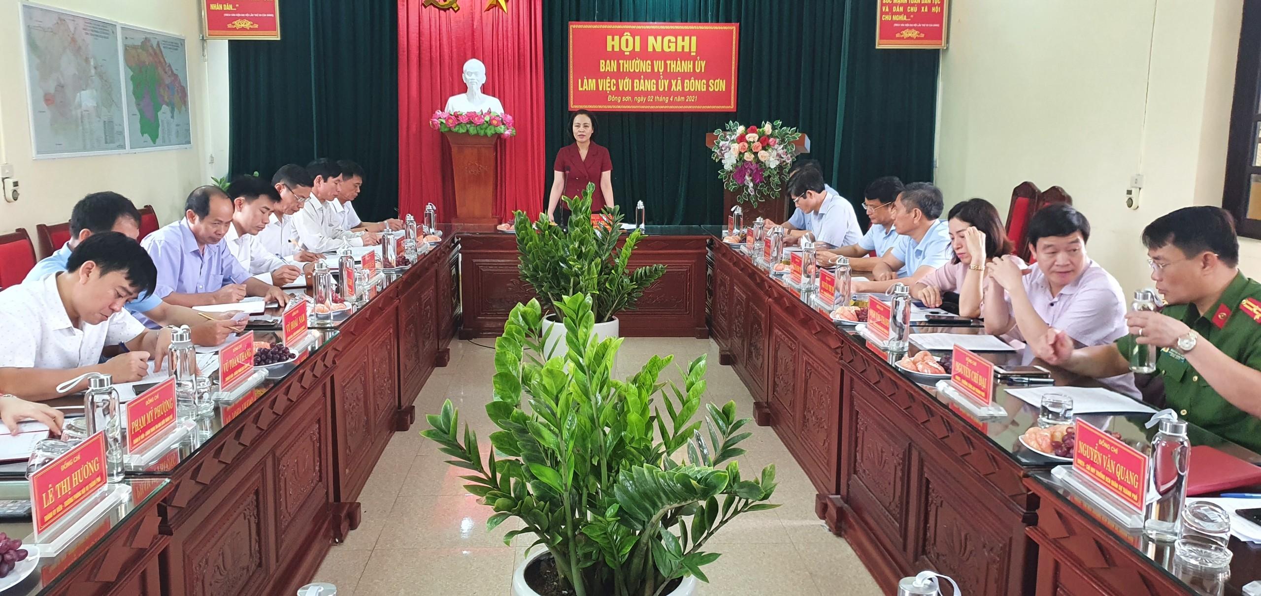 Ban Thường vụ Thành ủy Tam Điệp làm việc với Đảng ủy xã Đông Sơn