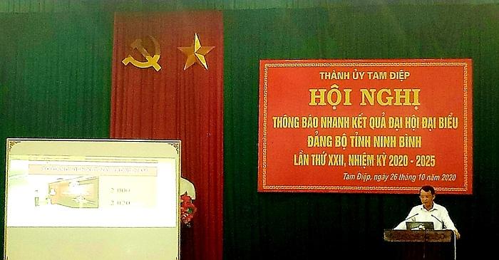 Hội nghị thông báo nhanh kết quả Đại hội Đại biểu Đảng bộ tỉnh Ninh Bình lần thứ XXII, nhiệm kỳ 2020 – 2025.